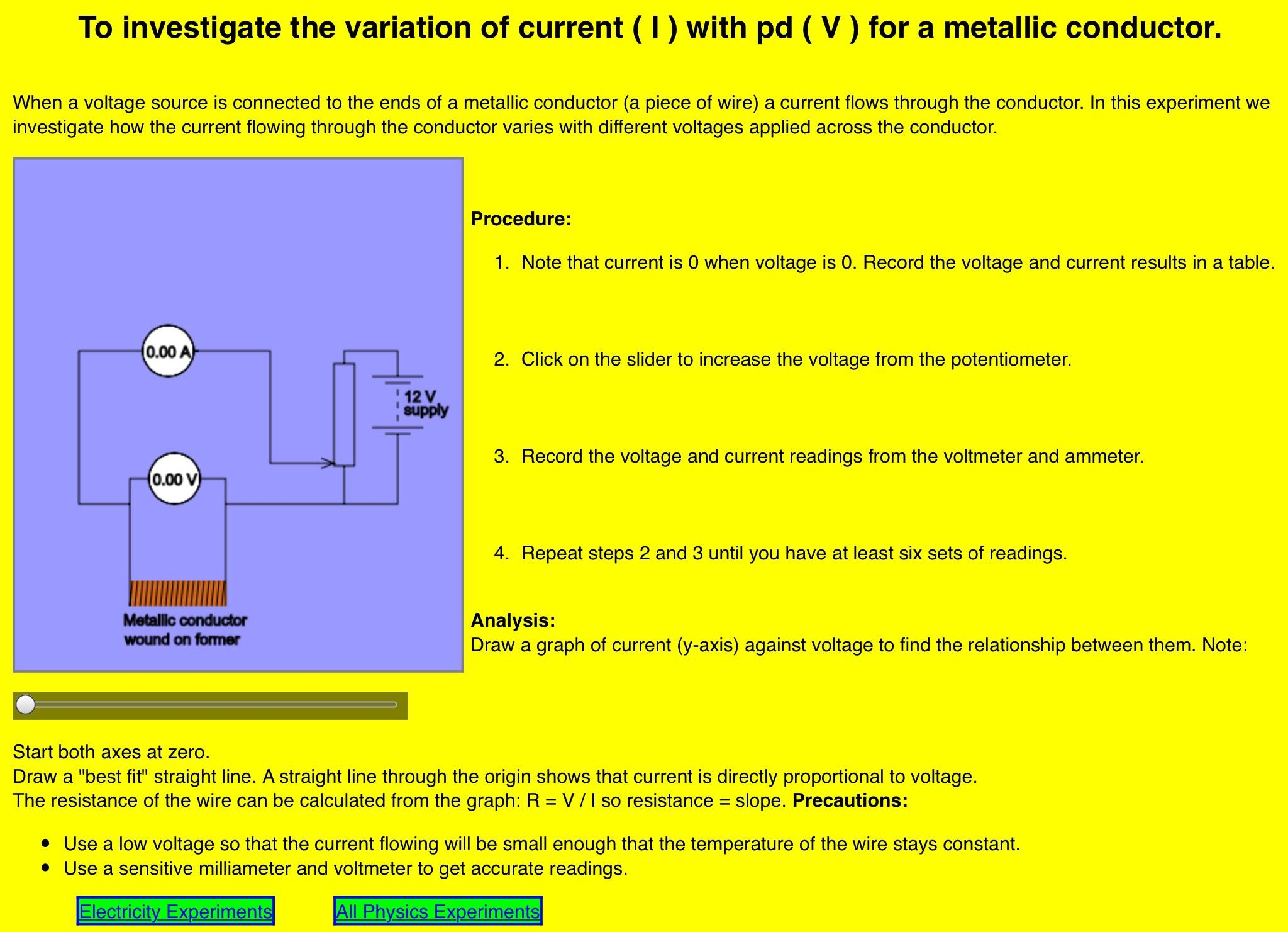 Vary The Voltage And Current For A Metallic Conductor Online Activity Tuesday March 6 2018 Metal Online Activities Conductors [ 1481 x 2048 Pixel ]