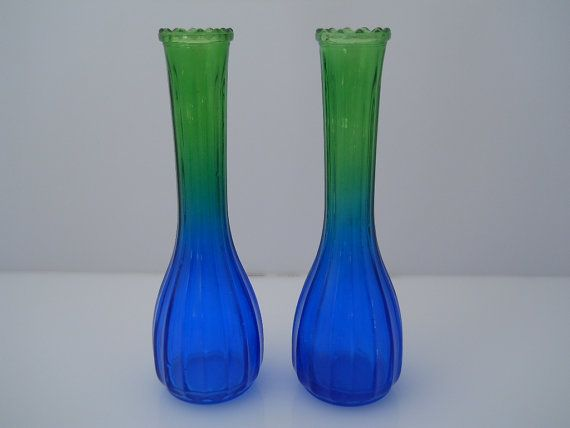 Art Glass Blue Green Vase Vertical Ribs Scalloped Top by Replays, $18.00