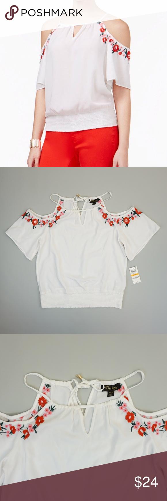 7b5854662fe6f5 Thalia Sodi Floral Embroidered Cold Shoulder Top S Thalia Sodi Womens Top  Floral Embroidered Cold Shoulder Keyhole Scoop Neck Blouse Shirt SIZE  S  COLOR  ...