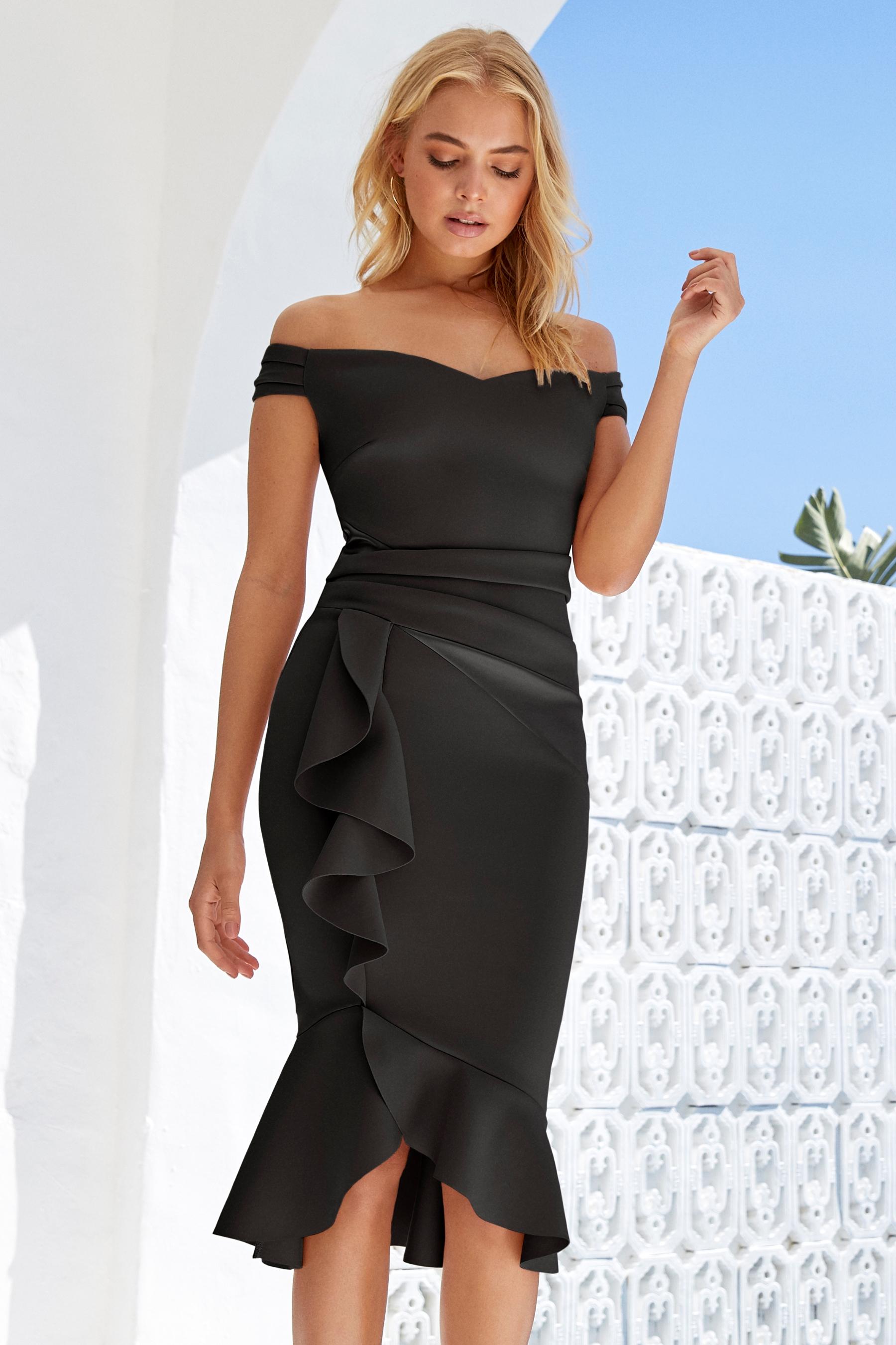 ce2b8fe228885e Womens Lipsy Satin Panel Bardot Flute Hem Bodycon Dress - Black ...
