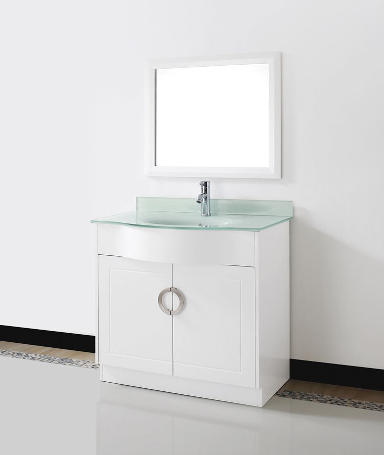 Art Zen 36 White Bathroom Vanity Glass Top With Images White