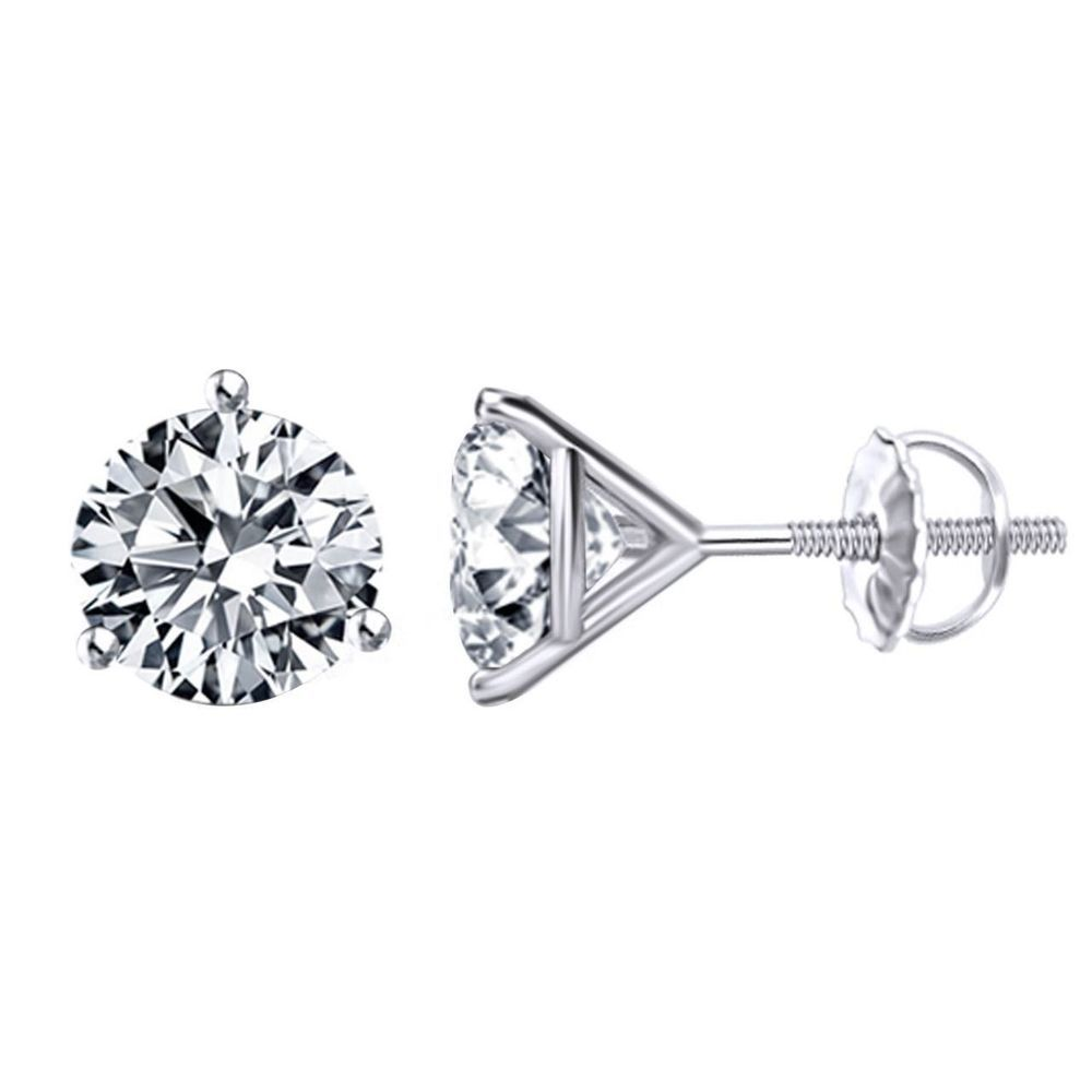 a751f21bc26e8 1.00 Ct Round Diamond Stud Earrings Martini Style Screw Back 14K ...