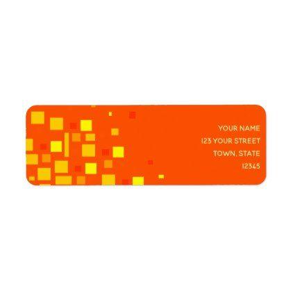 squares vibrant orange yellow geometric neon cool label