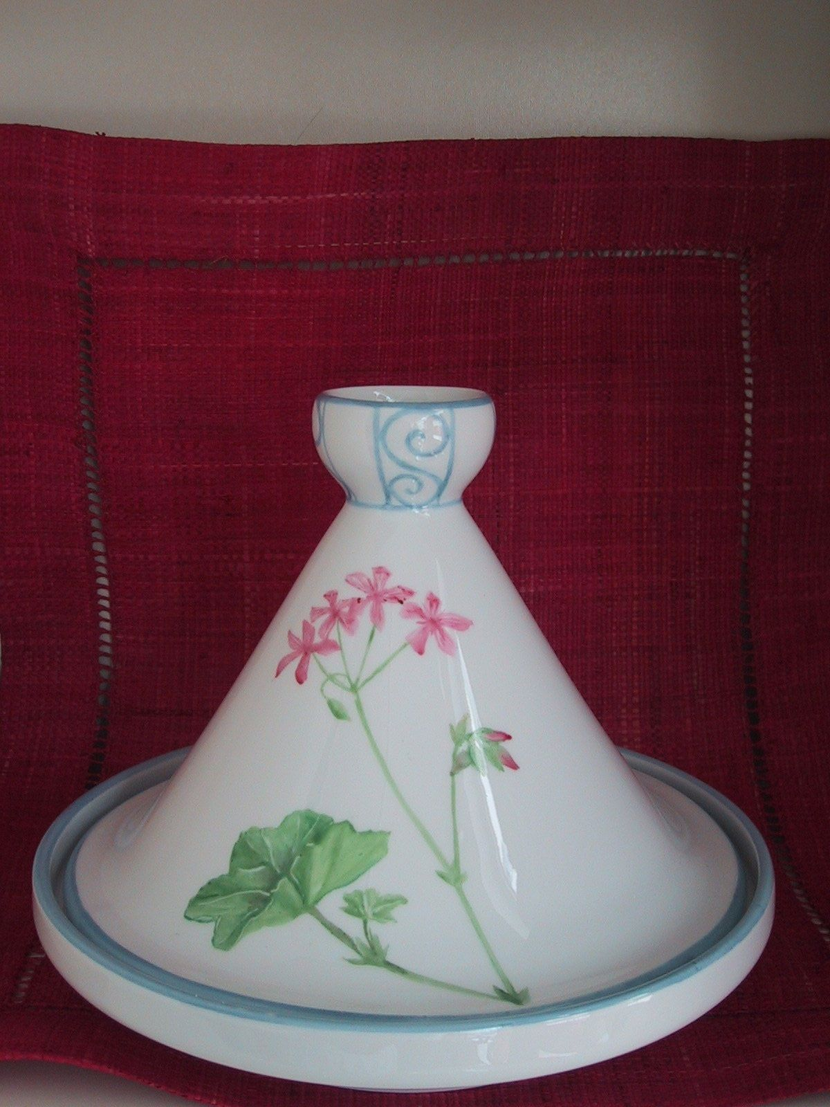 tagine , geranium hand painted flower, Limoges porcelain, dinnerware, mediterranean, garden, chinaware.