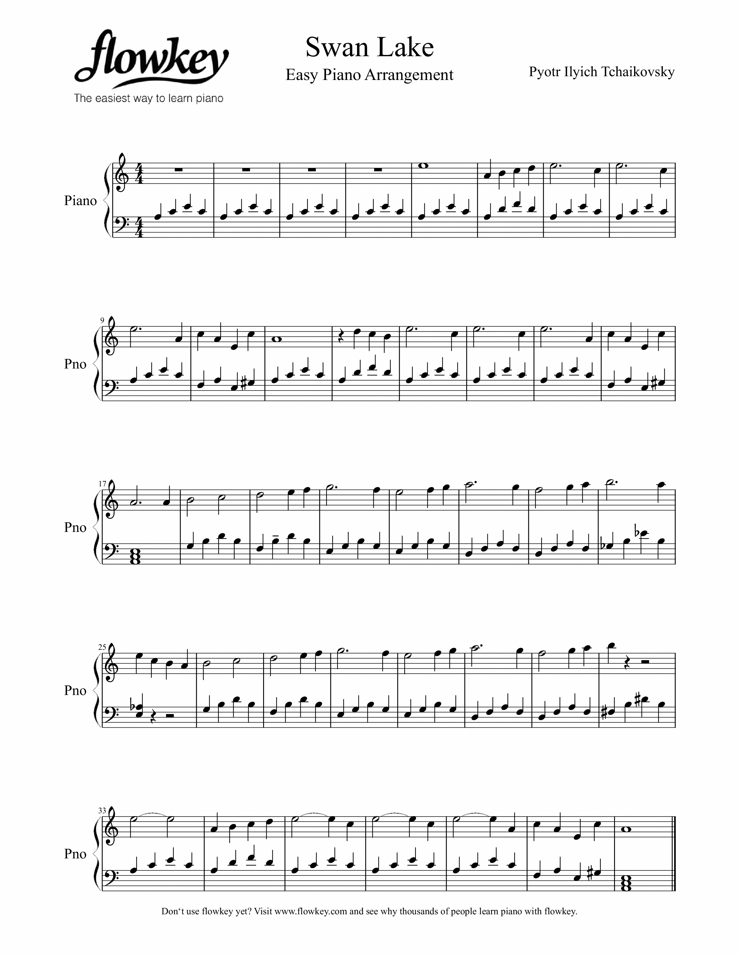 Peter Tchaikovsky : Swan Lake (Easy piano arrangement for beginners