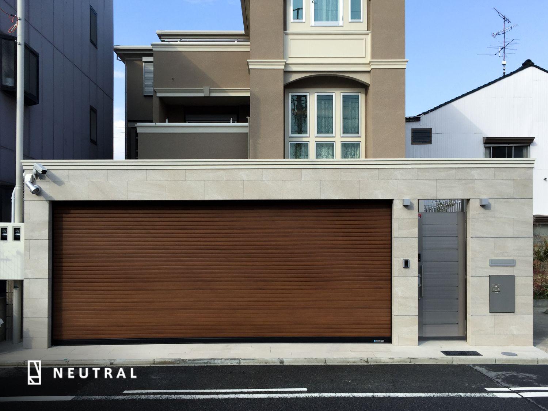 門一体化シャッターゲート施工例 プールのある家 住宅 外観 家の正面
