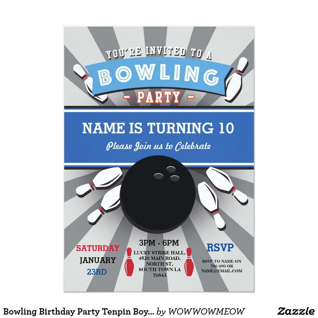 Bowling Birthday Party Tenpin Boys Girls Invite Fun Bowling Party Invitation Perfect For Any Age Bowling Birthday Party Girl Invitations Boy Party Invitations