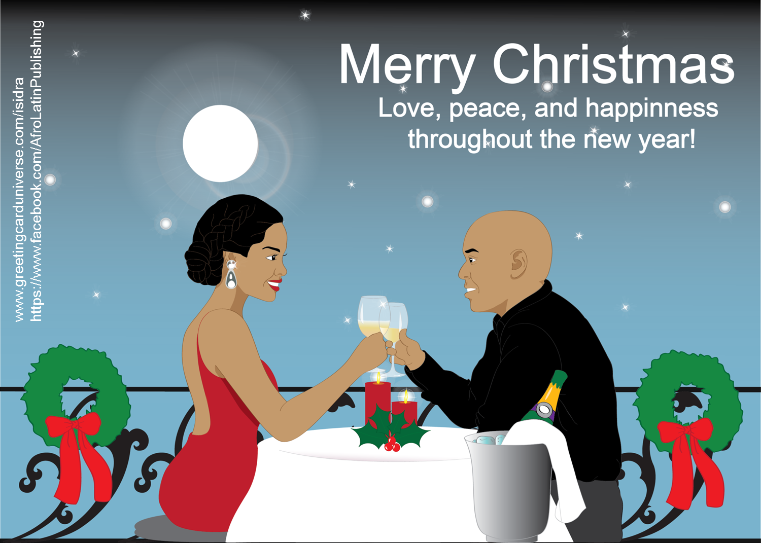 Romantic Christmas Card Beautiful Black African American Couple
