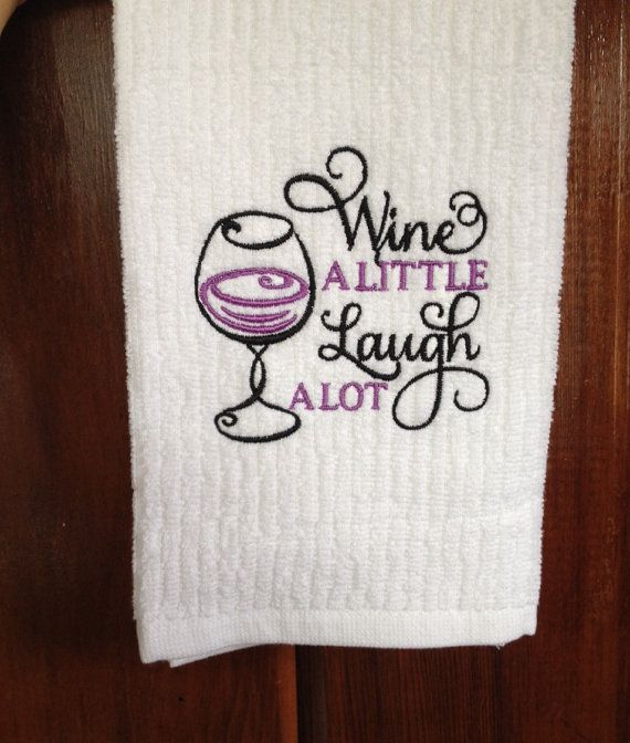 Embroidered kitchen towel by SurelyShirlCreations on Etsy ...