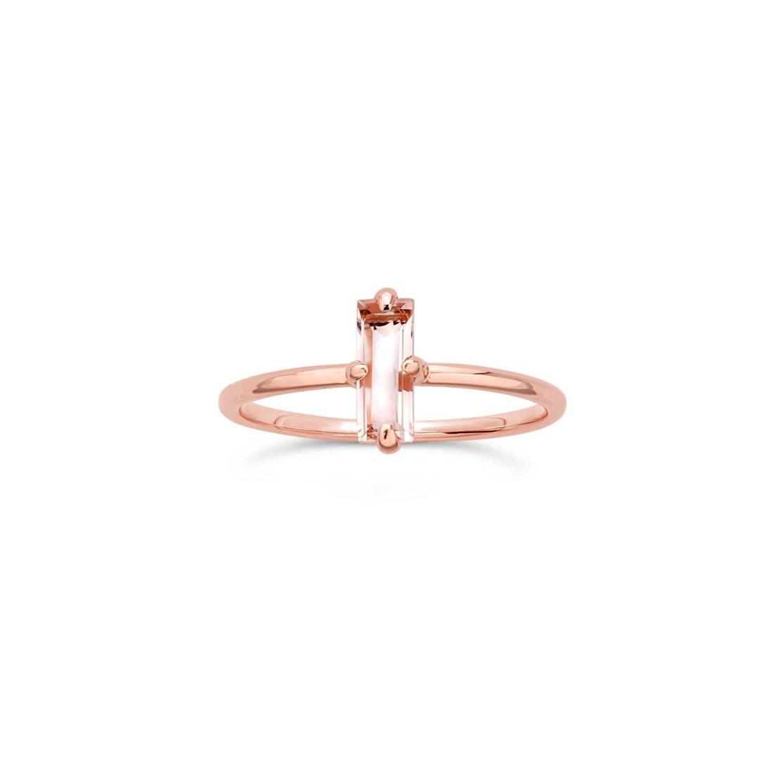 Baguette Rose Quartz Ring – MishaHawaii