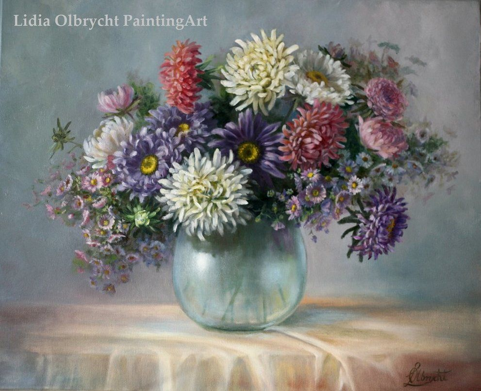 Asters Autumn Flowers By Lidia Olbrycht Poland Flower Painting Beautiful Art Paintings Flower Drawing
