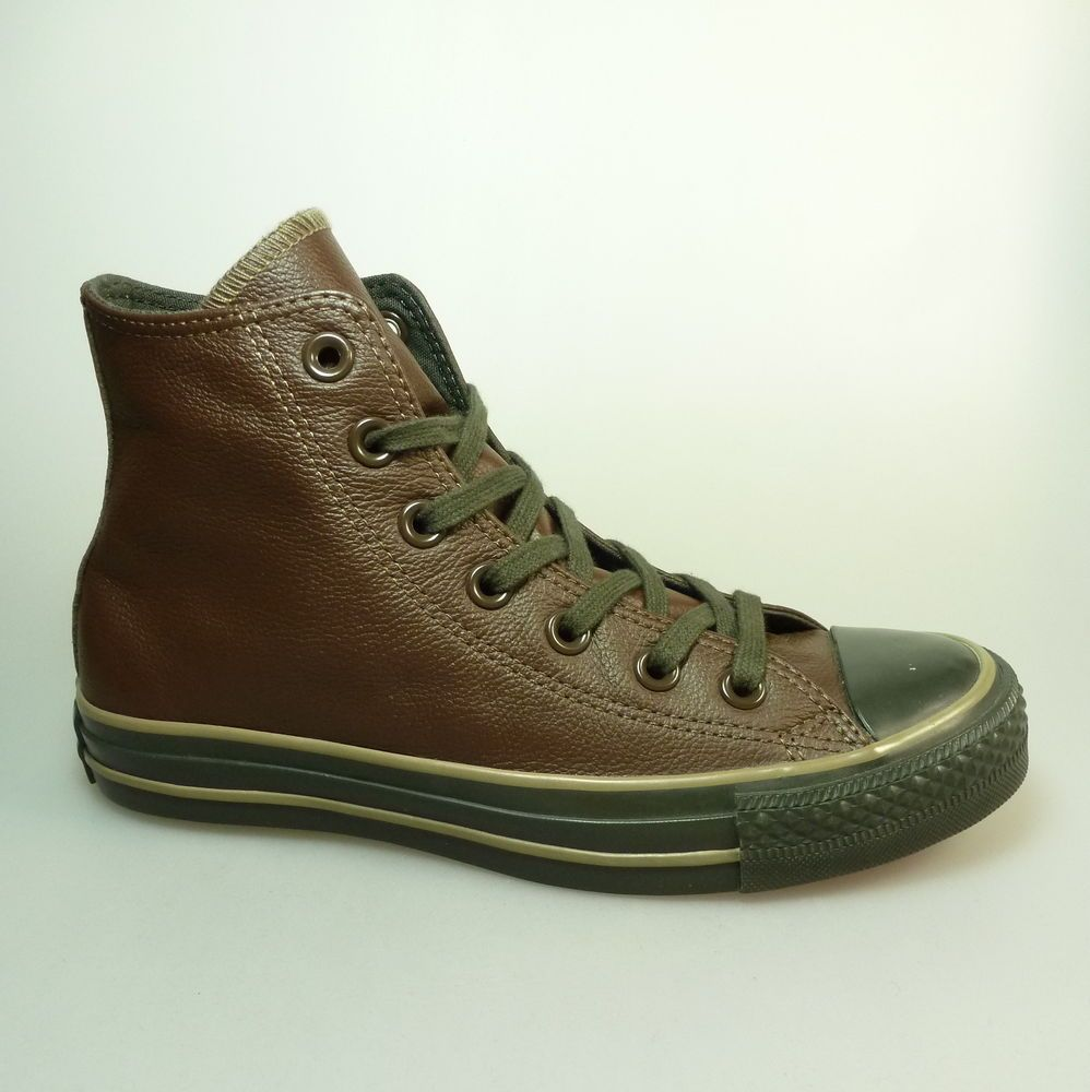 official photos 133e7 44845 CONVERSE All Star Chuck Taylor Leather Hi Chocolate Sneakers ...