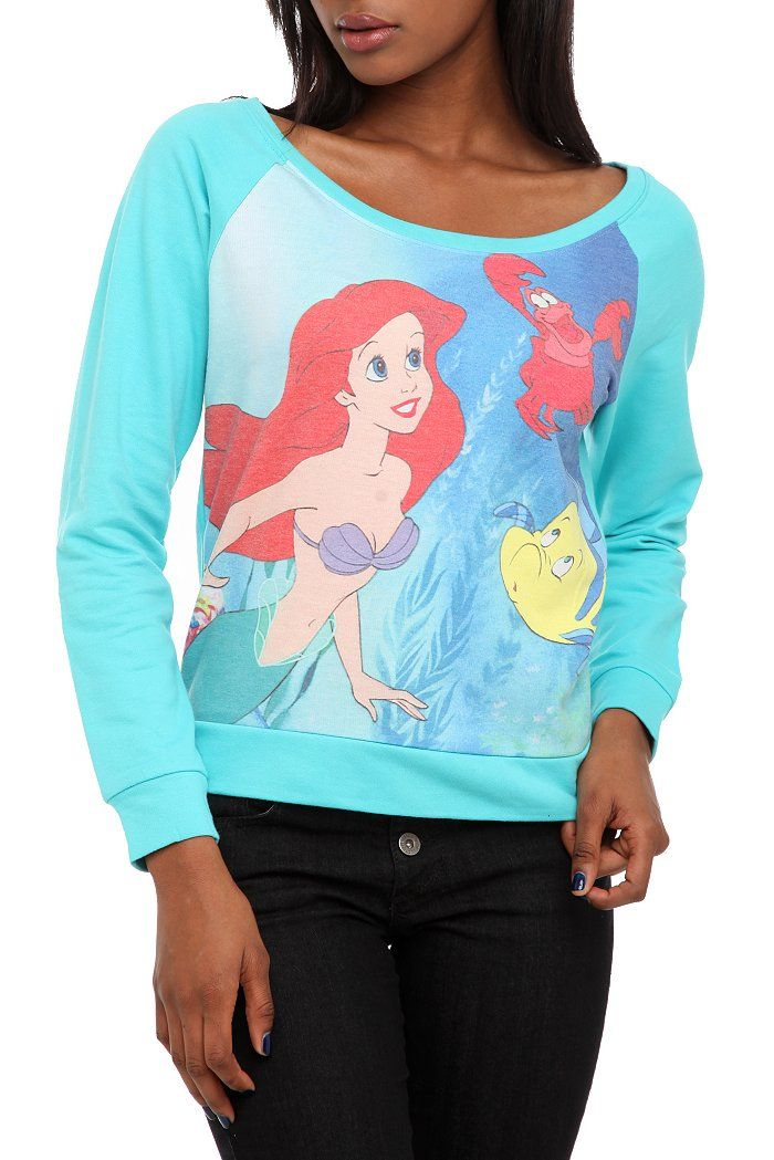 Disney The Little Mermaid Raglan Pullover Top Check these out for the Disney lover in your life!   available at Hot Topic in the Shawnee Mall
