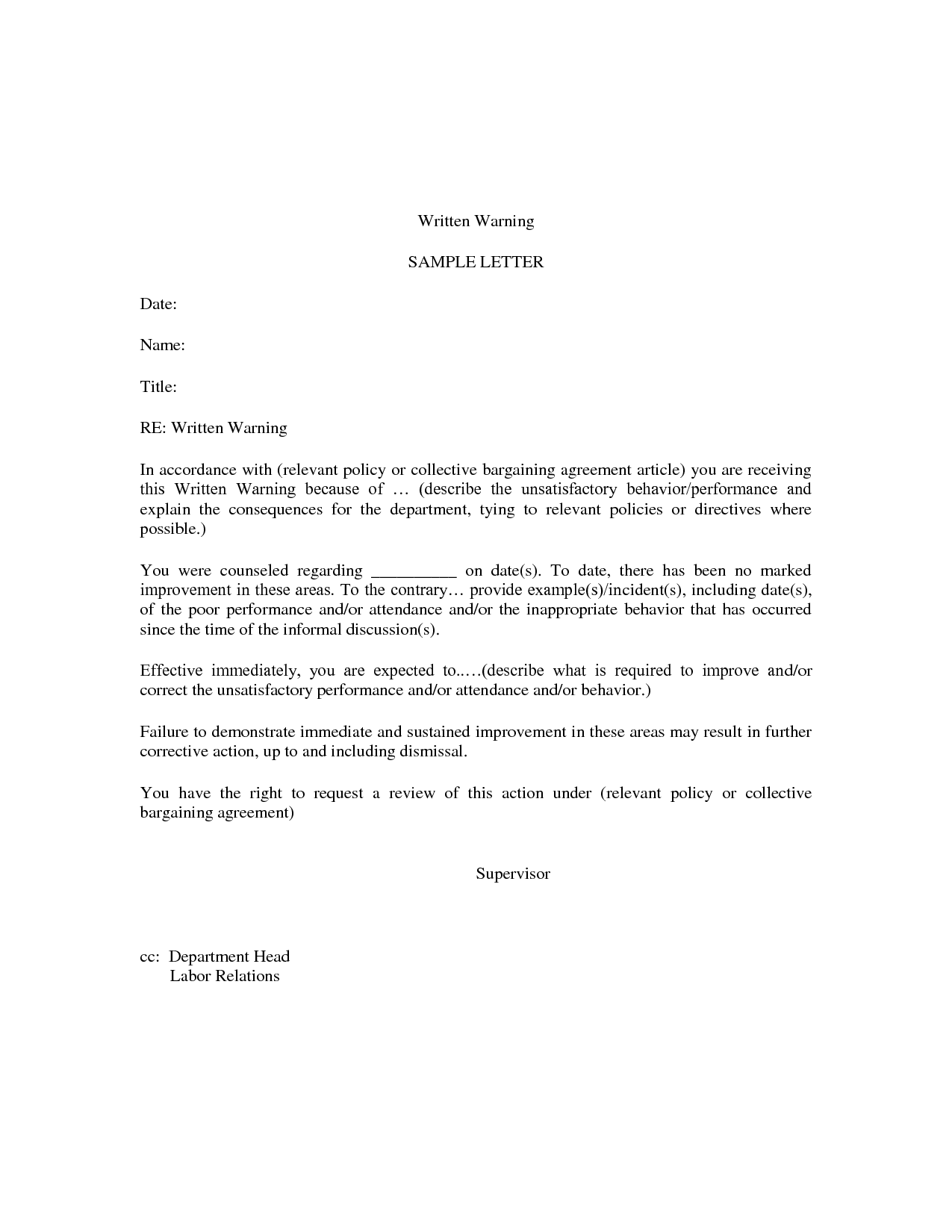 Letter Of Warning SampleWarning Letter For Absent Application – Sample Collective Bargaining Agreement