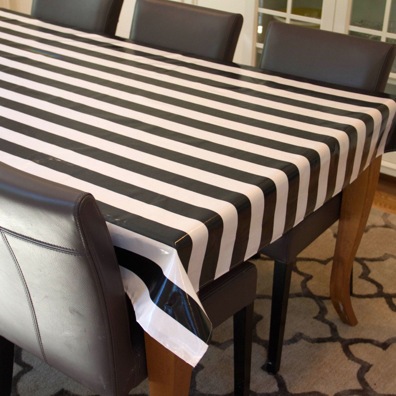 Charmant Oilcloth Tablecloth Laminated Cotton Waterproof Coated Table Cloth Laminate  Cotton Square Round Oval Rectangle Espresso Black