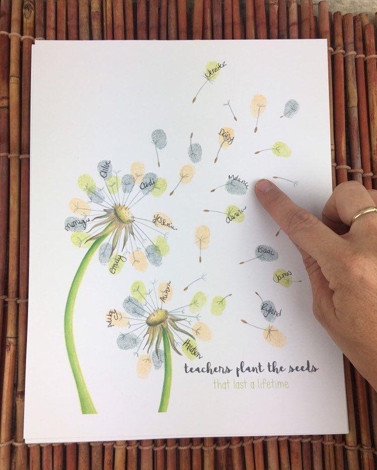 Instant Download Thumbprint Dandelion Teacher Appreciation Teacher Gift Idea End Of Teacher Appreciation Gifts Diy Diy Teacher Gifts Appreciation Gifts Diy