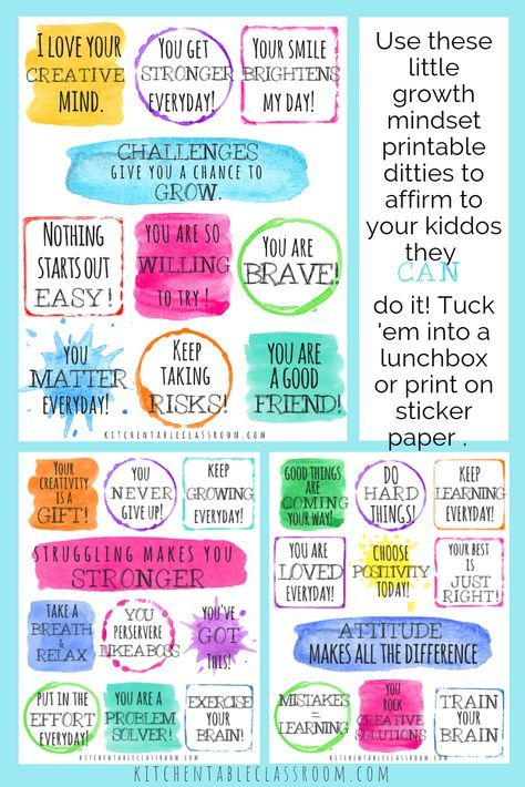 Positive Affirmations for KidsPrintable Growth Mindset Notes & Poster - Positive affirmations for kids, Growth mindset notes, Affirmations for kids, Growth mindset quotes, Growth mindset lessons, Positive notes - These printable positive affirmations for kids come in the form of little notes and a poster  Use these lunchbox notes and poster to encourage your kids!