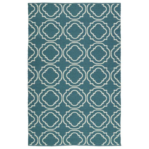 Indoor/Outdoor Laguna Teal and Ivory Geo Flat-Weave Rug (2'0 x 3'0)