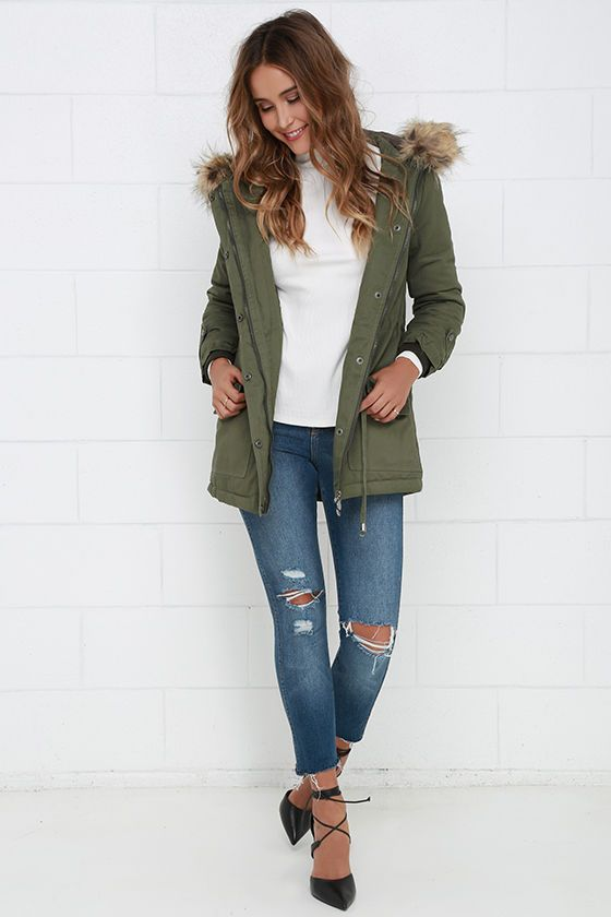 Luck of the Draw Faux Fur Olive Green Parka Jacket | Green parka ...