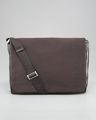 Logo-Print Nylon Flap Messenger Bag by Giorgio Armani at Neiman Marcus.