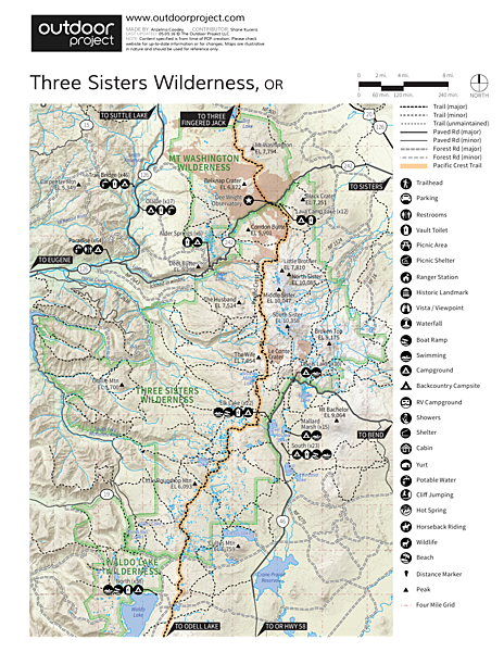 Chambers Lakes Hike Via Obsidian Trailhead Trail Map Hiking Oregon