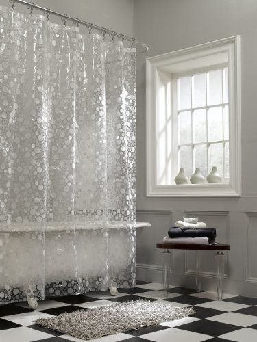 AmazonSmile   Maytex Ice Circles PEVA Shower Curtain, Clear   Peva Shower  Liner
