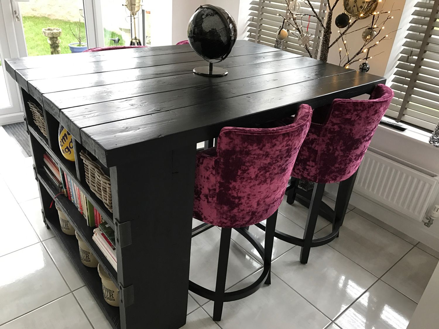 industrial style reclaimed wood black stained kitchen island - www