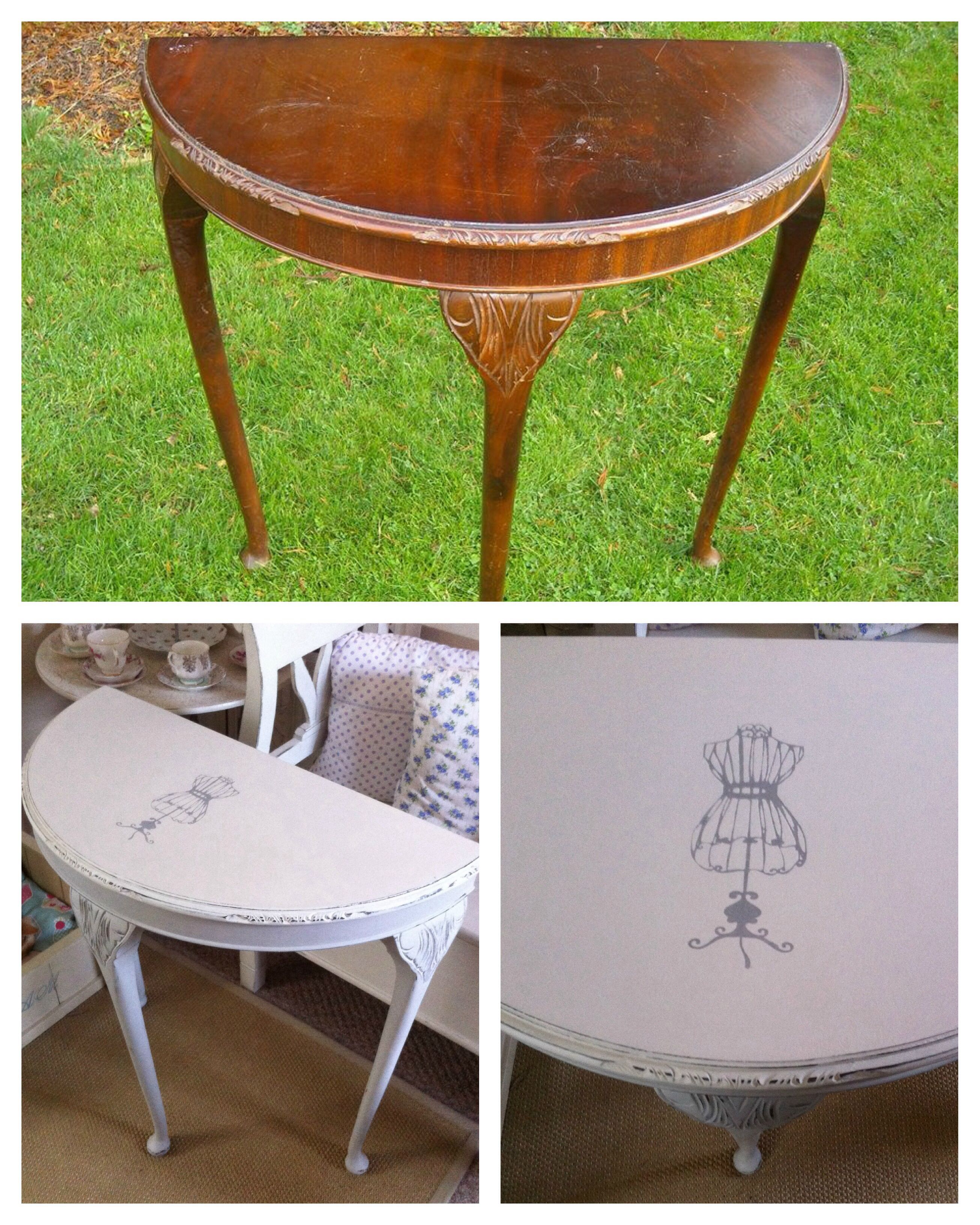 Upcycled U0027shabby Chicu0027 Console/ Half Moon Table