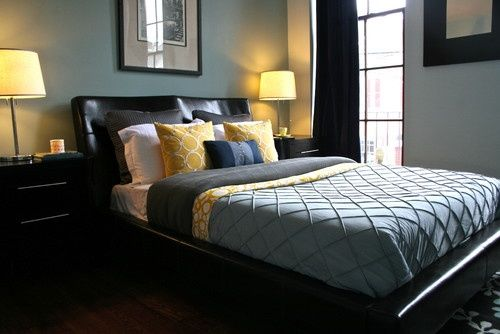 Master bedroom idea Blue/black/yellow color Redoing our Master