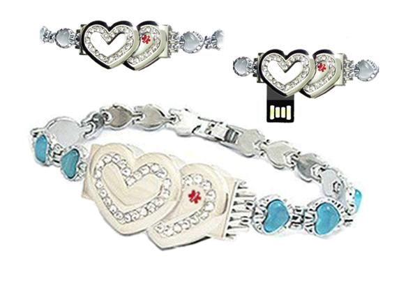 Key2life Usb Medi Chip Double Heart Crystal Bracelet With Stones