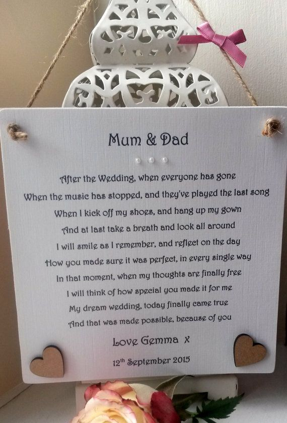 Thank You Mum And Dad Wedding Gift From Bride Personalised Mother Father Of The Brides Parents