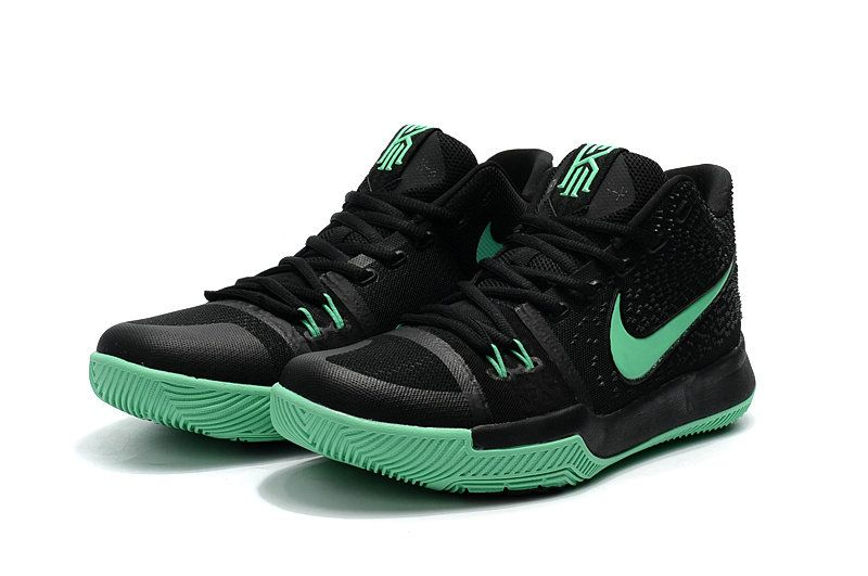 online retailer 1935a 3c05a Kyrie Irving Shoes 3 2017 OKE Green Grow Clear Jade BlaCK