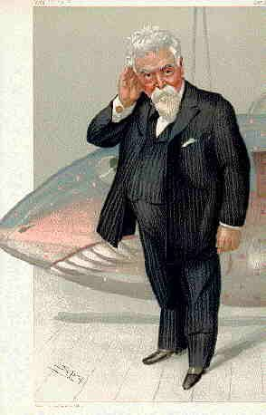 Sir Hiram Maxim (1840-1916) caricature by Spy for Vanity Fair, 1904
