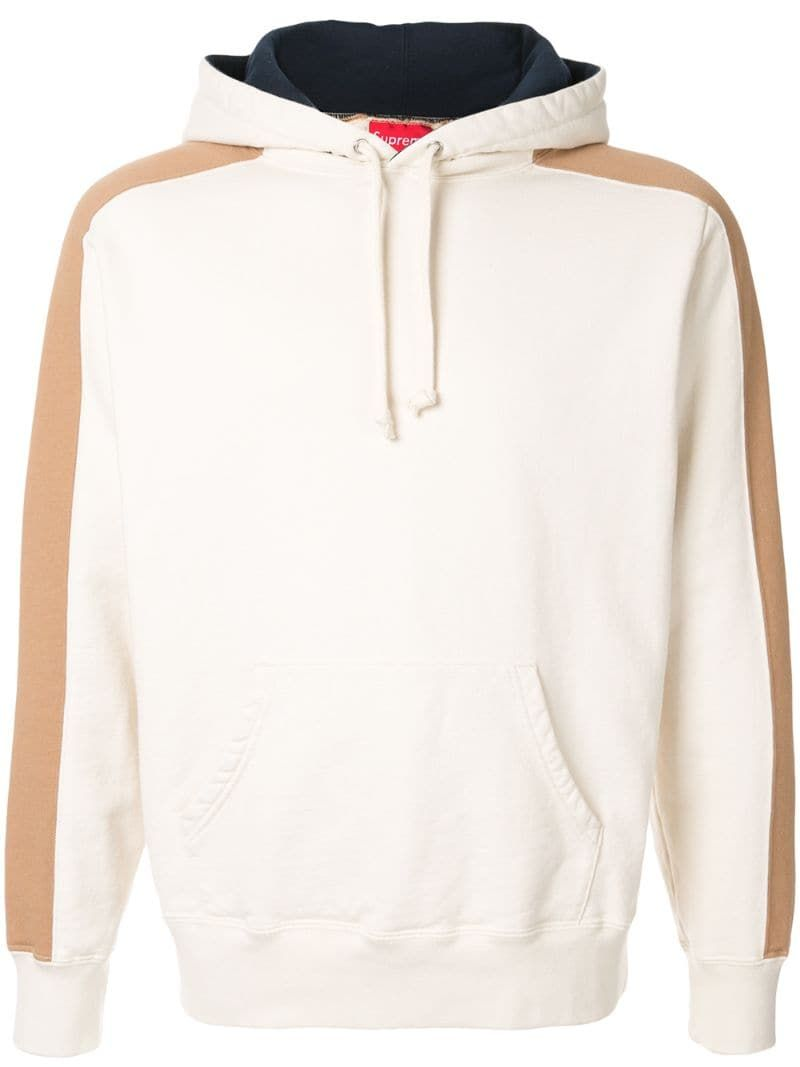 Supreme Panelled Hooded Sweatshirt In White Modesens [ 1067 x 800 Pixel ]