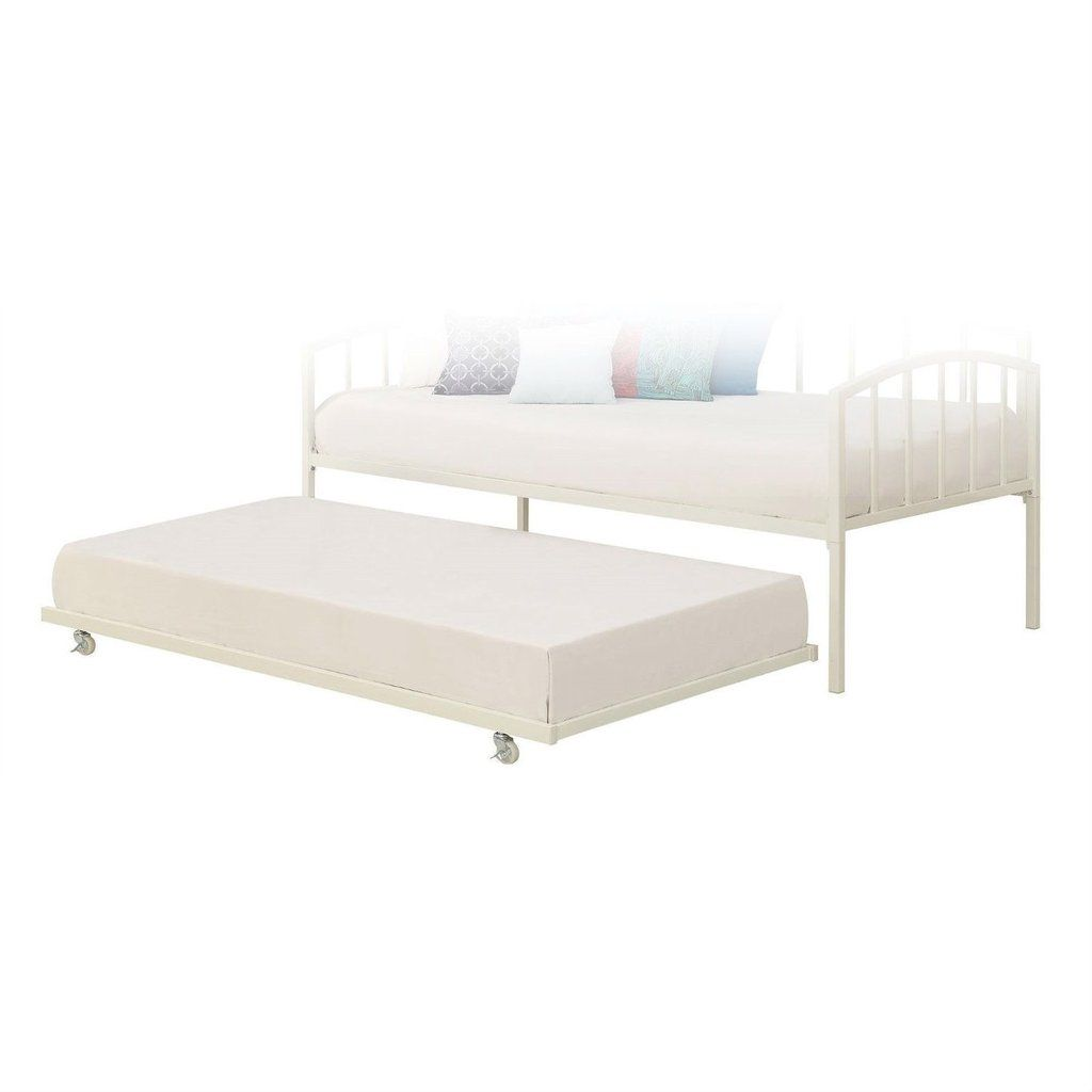 twin size white metal trundle bed with casters wheels for under daybeds bedroom bed - Metal Trundle Bed Frame