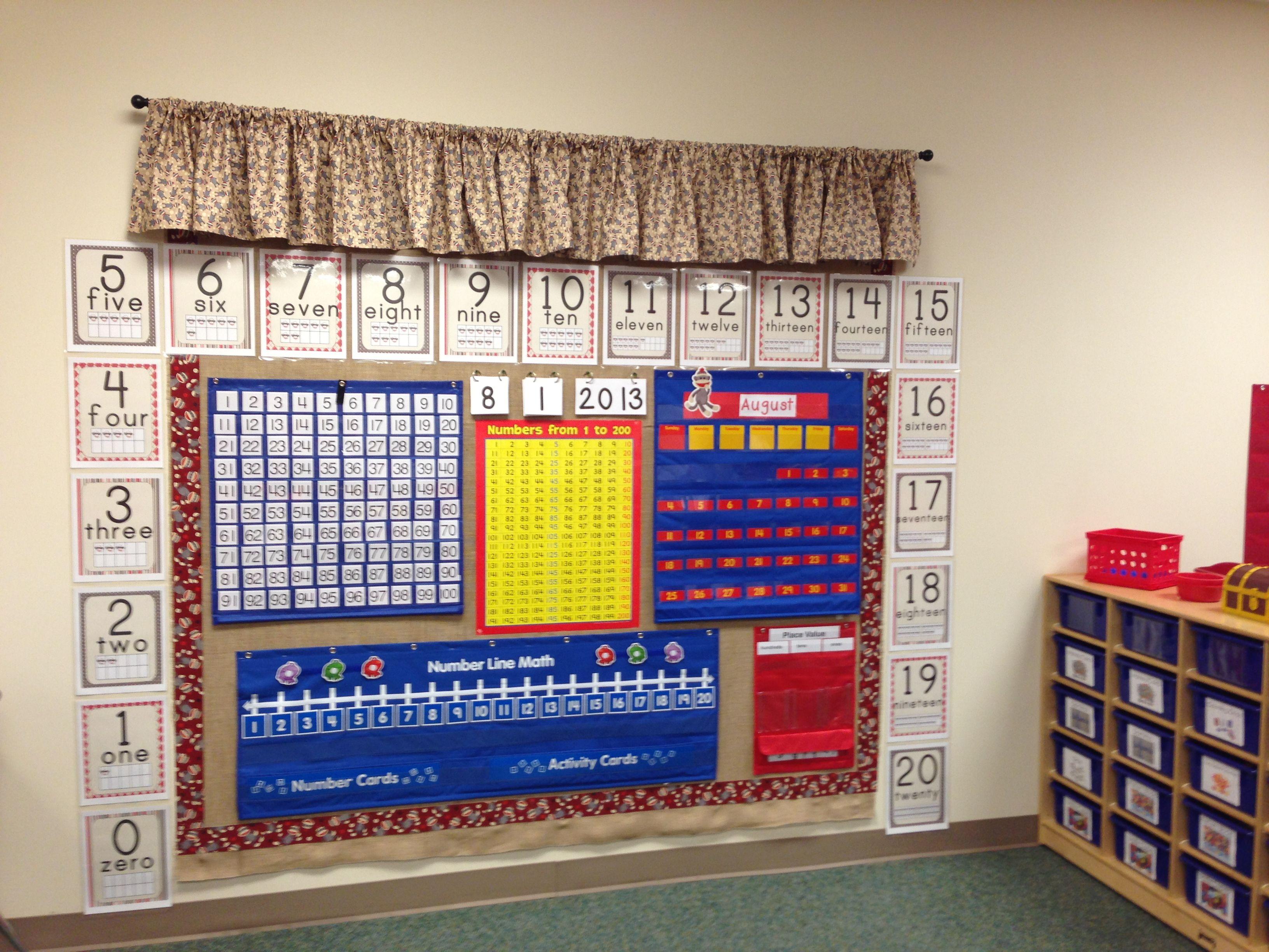 Calendar Math Ideas First Grade : Calendar math wall sock monkey style first grade