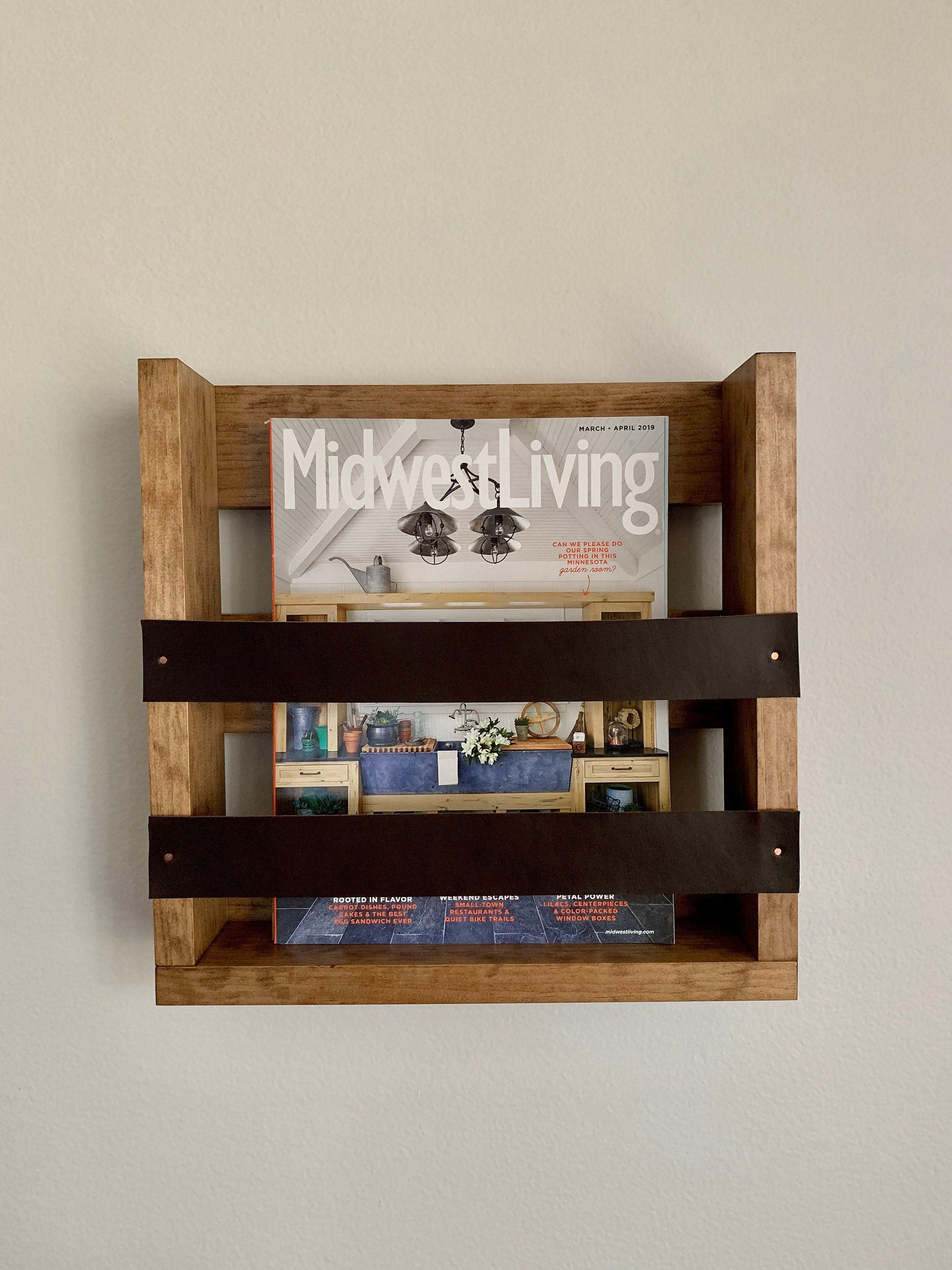Wall Mounted Magazine Rack With Leather Accents Wall Mounted Magazine Holder With Leather Straps Modern Magazine Holder Gift Item For Her In 2020 Leather Magazine Rack Magazine Holders Magazine Rack