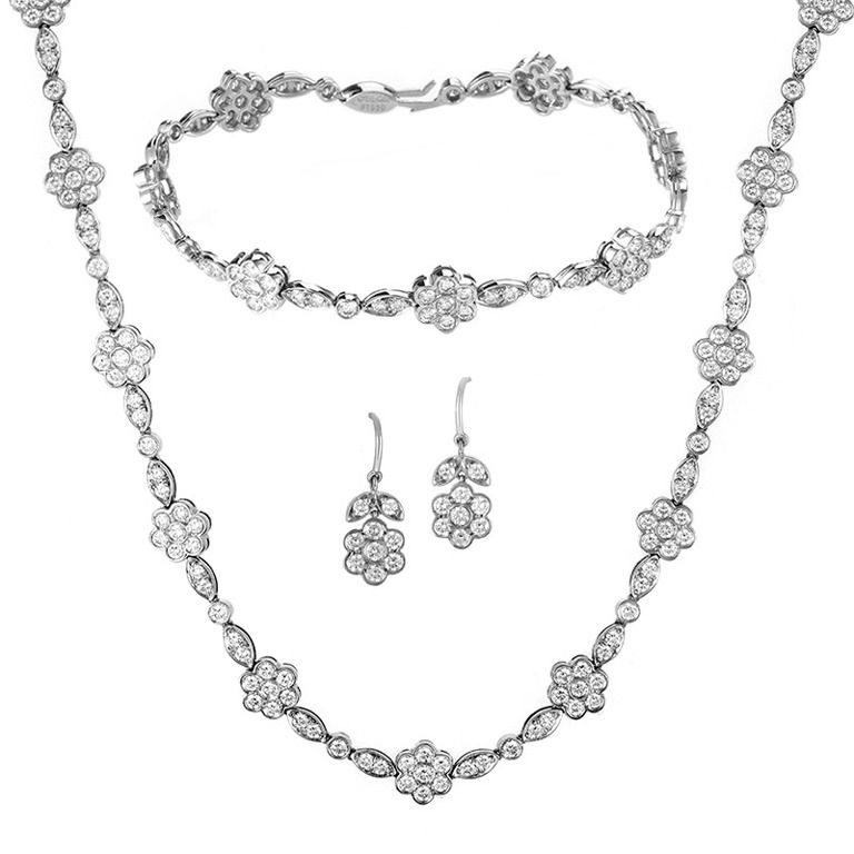 Tiffany & Co Diamond Platinum Floral Design Jewelry Set