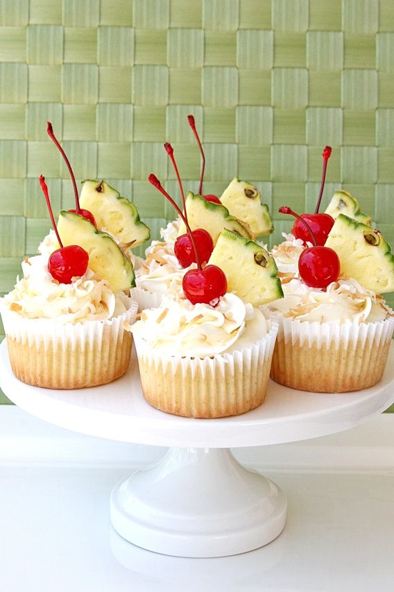The delicious tropical drink is transformed in this pina colada cupcake recipe.