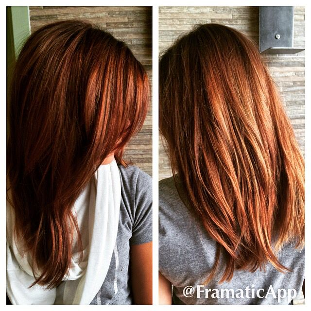 Red Brown Auburn Color Melt With A Side Bang Sombre On A