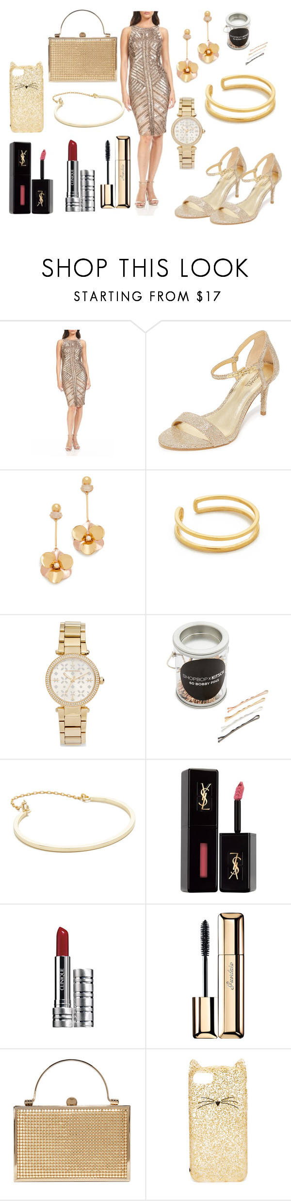 """""""Glittering Gold"""" by hillarymaguire ❤ liked on Polyvore featuring Theia, MICHAEL Michael Kors, Kate Spade, Maya Magal, Michael Kors, Kitsch, Madewell, Yves Saint Laurent, Clinique and Guerlain"""