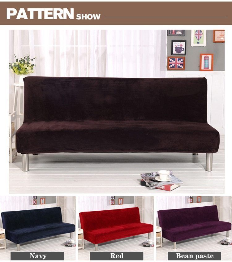 Details About Armless Sofa Bed Fabric Cover Elastic Futon