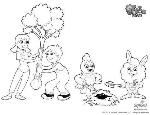 sprouts the Chica show coloring page | ... Plants a Tree ...