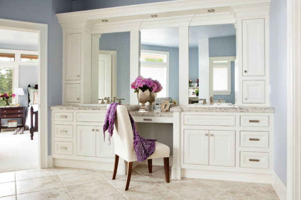 Makeup Vanity For The Bathroom Bathroom Pinterest Master - Bathroom vanity with makeup counter for bathroom decor ideas