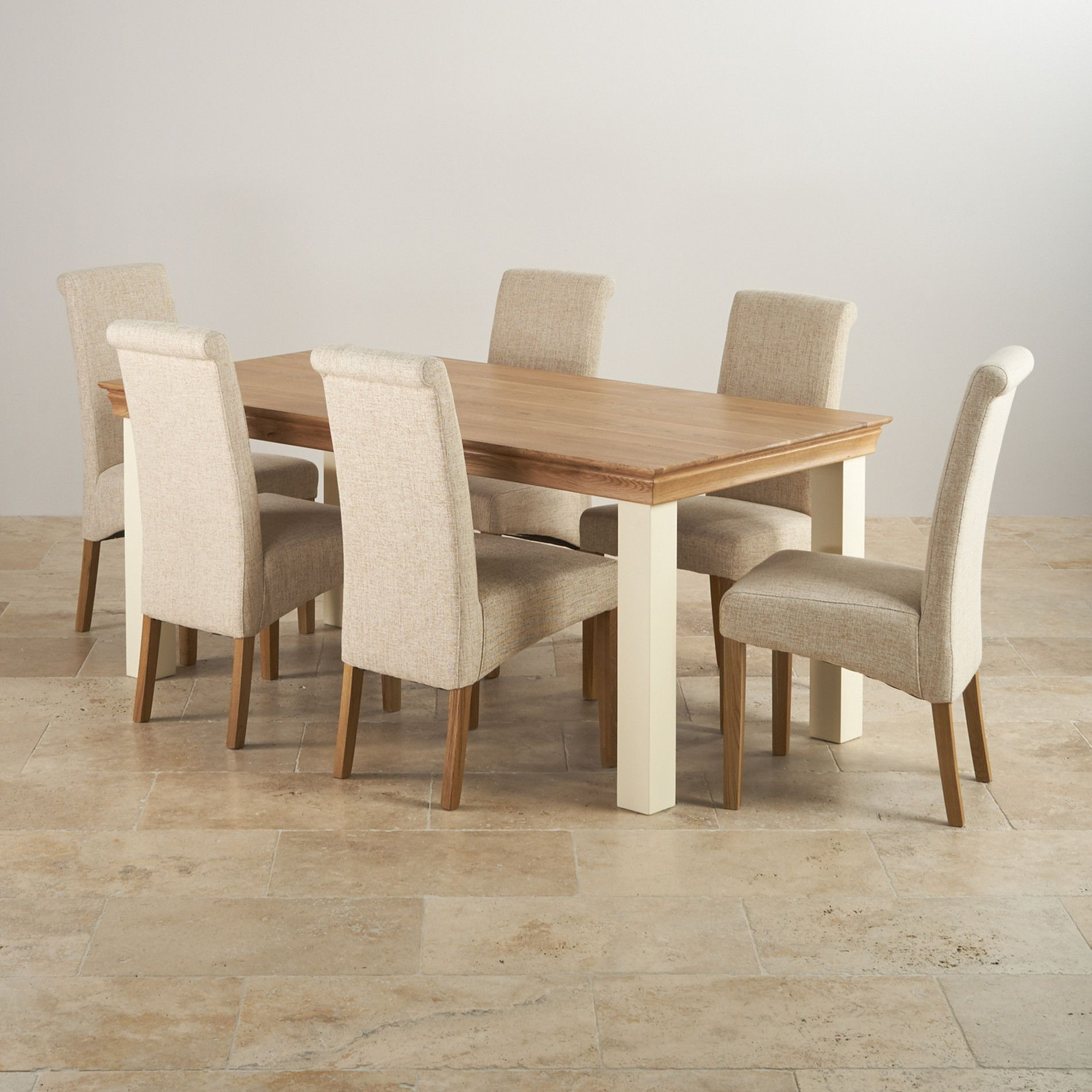 Country Cottage Natural Oak And Painted Dining Set Ft Table With - 6ft dining table and chairs
