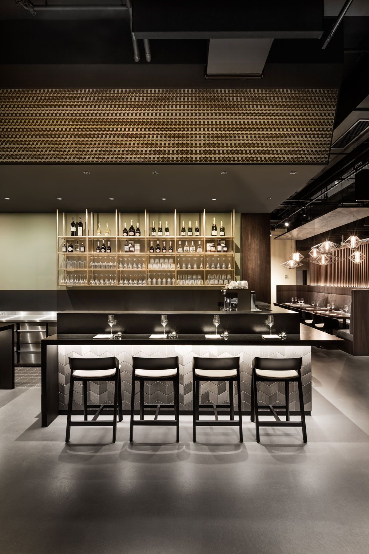 interior design, restaurant, bar, live counter, industrial floor ...