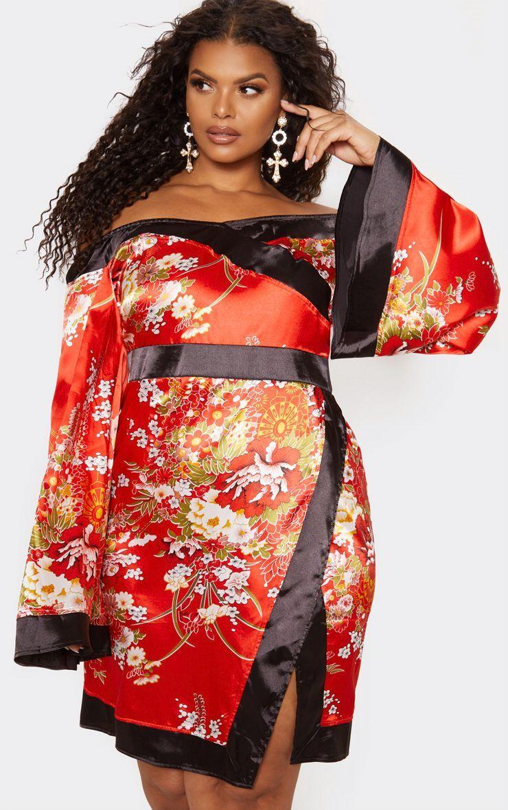 a479dde407 Plus Red Bardot Oriental Flare Sleeve Bodycon Dress in 2019 ...