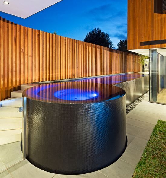 Beautiful tile work zero edge concrete pool above - Above ground concrete pool ...