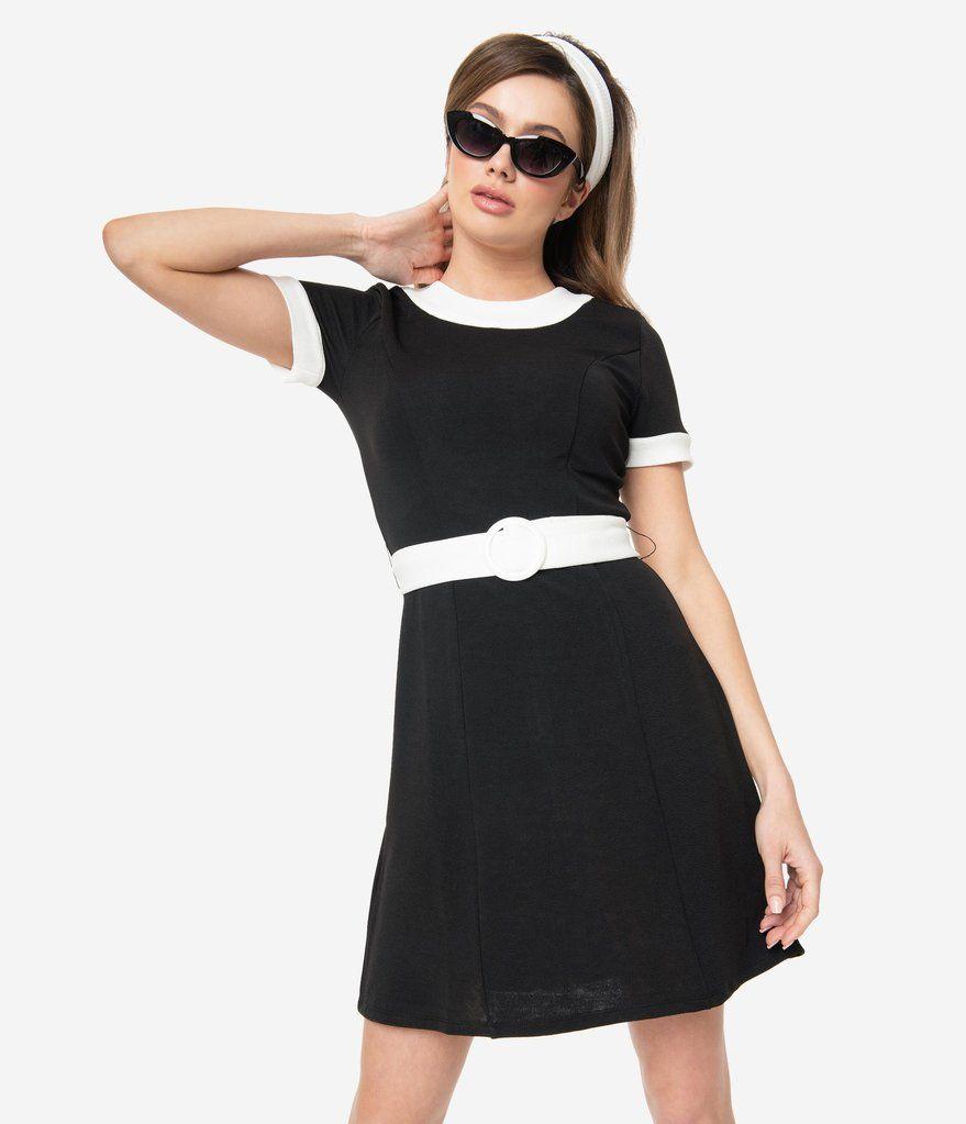 Smak Parlour Black White Belted Show Stealer Dress Black Dress Sleek Outfit Black Knit Dress [ 1023 x 879 Pixel ]