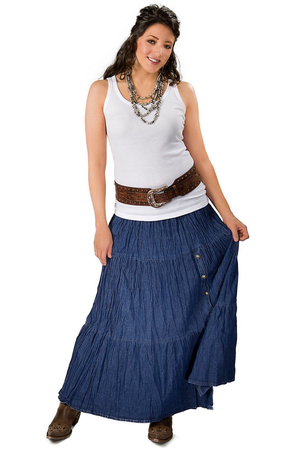 c0ae9fb71 Crazy Cowgirl Women's Denim Long Broomstick Skirt | clothes ...